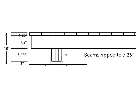 Side view of lower elevation for beam, post and deck foot anchor