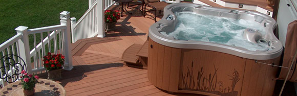 Hot tub close up view on mid level deck