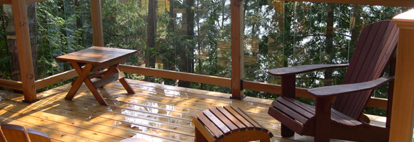 Glass railing cedar deck in forest