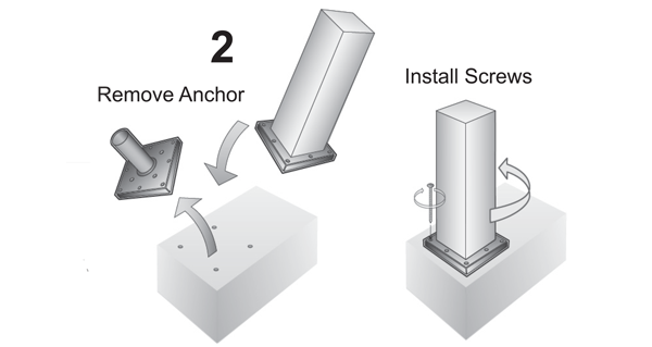 Attach anchor to post and fasten to concrete