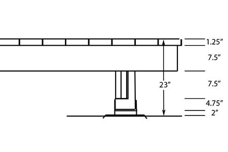 Side view of higher elevation for beam, post and deck foot anchor
