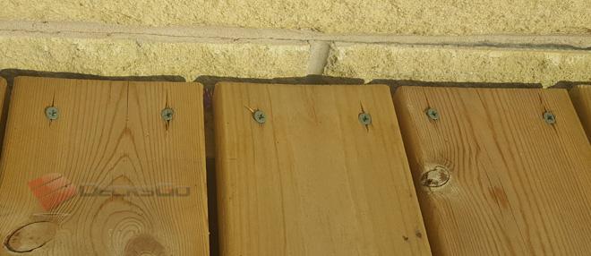 Example of deck boards cupping upwards (convex)