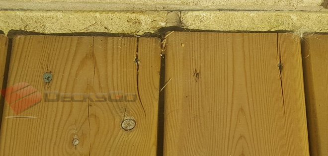 Example of wood splitting from screws
