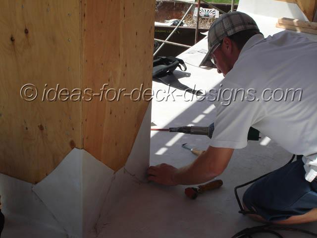 Installing detail patches around column corners