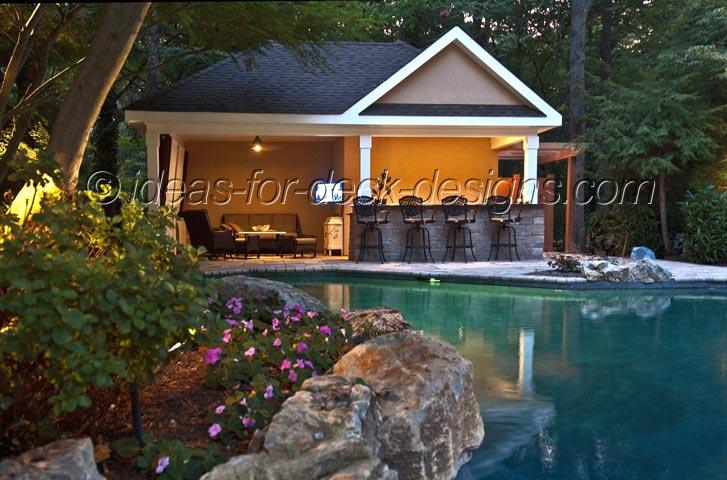 A paver stone pool deck