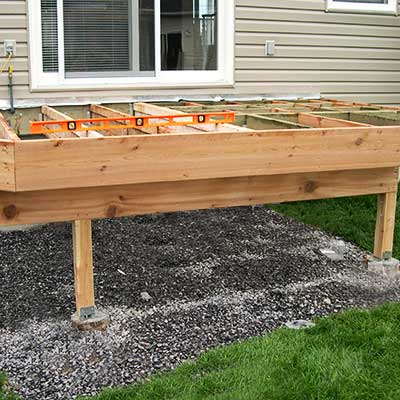 Front view of a deck frame