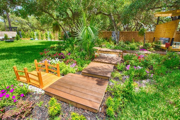 Stepped deck platforms meld into the landscape