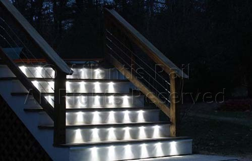 Stair tread lighting with cable rails
