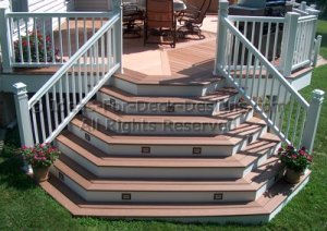 Cascading stair case connected to deck