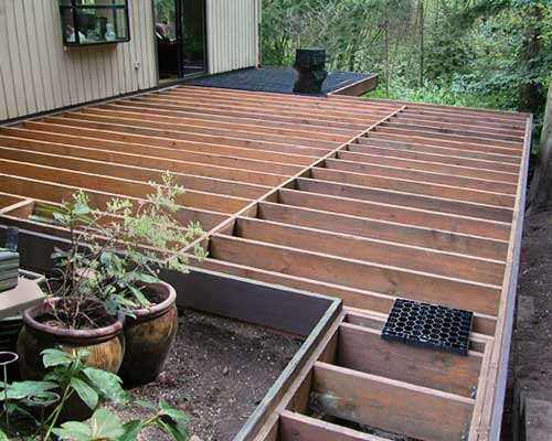 Deck framing before pavers