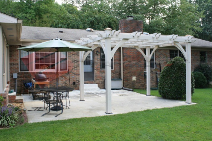 Backyard white pergola, classic architecture