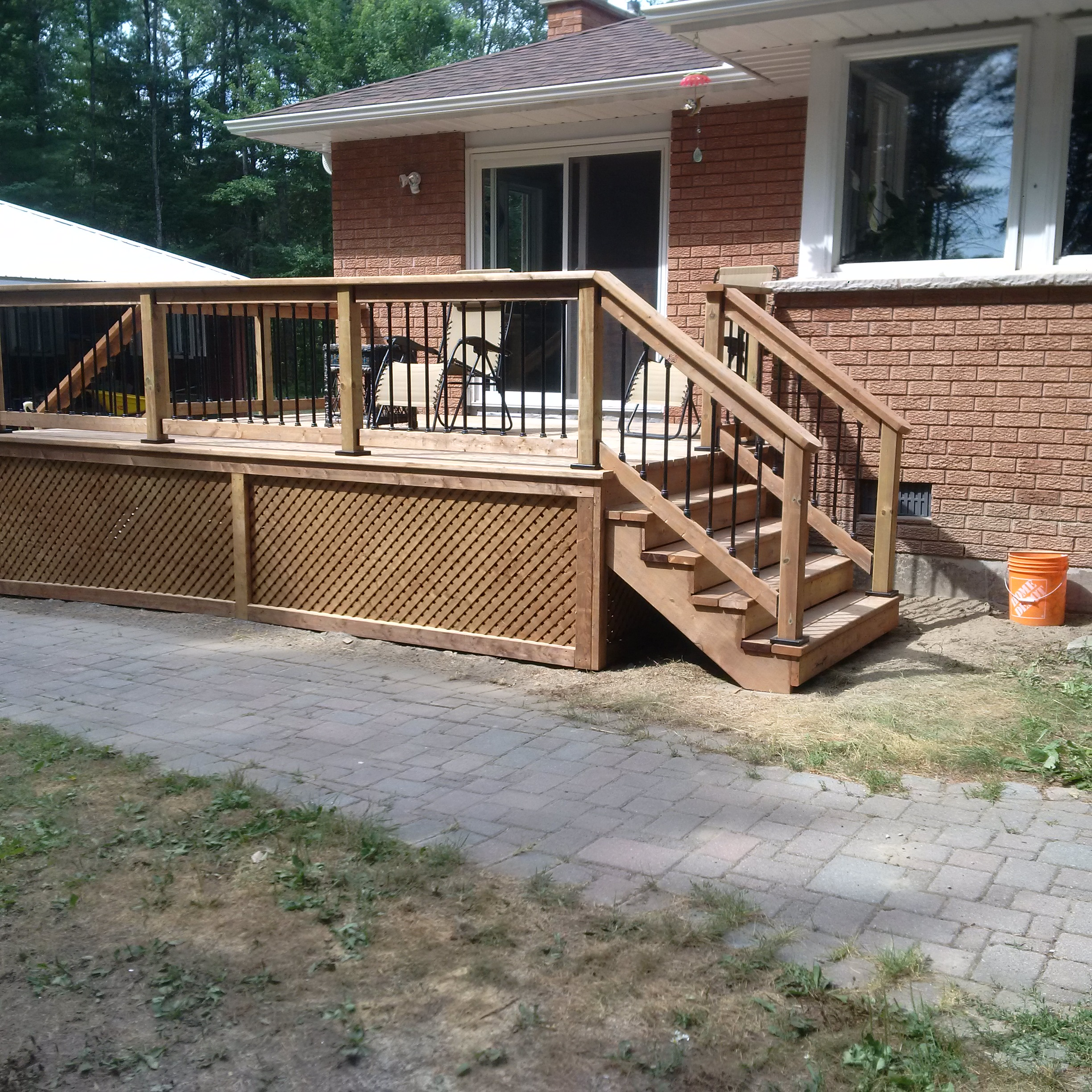 Above ground pool deck, treated wood