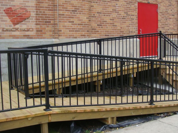 Aluminum Railing On An Access Ramp