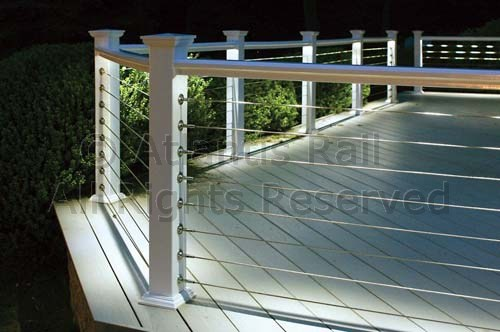 Traditional white picket rail and metal frame