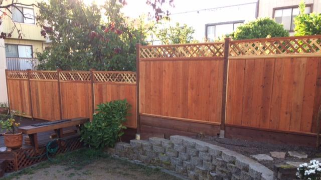 Cedar fence using post protector barrier system