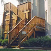 High wood deck and stairs