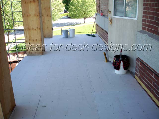 View from deck with cement board