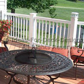 White composite railing sitting area