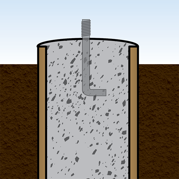 Slope the cement with a trowel and set J bolt.