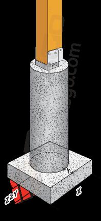 Pergola footing concrete pier standard post base