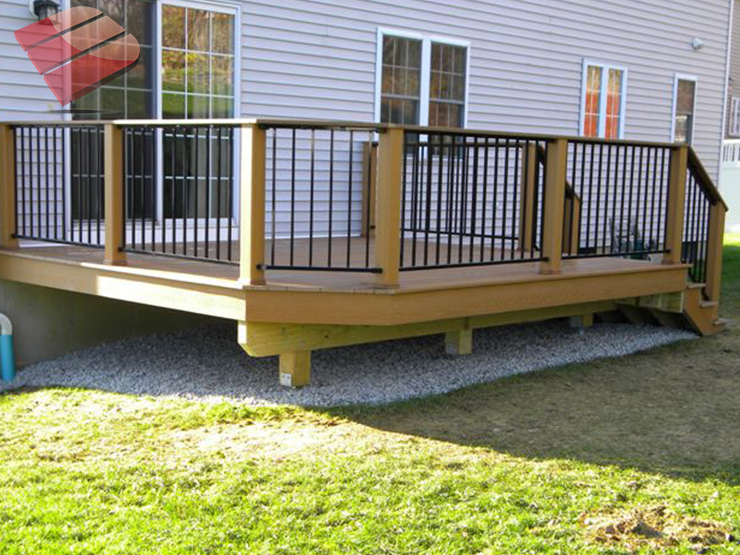 This image features railing infill section made of durable galvanized iron and powder coated black with unique detail.
