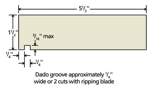 Deck board with groove cut using a dado blade