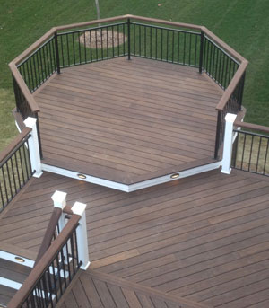 A multi level deck with exterior grade bamboo looks great.