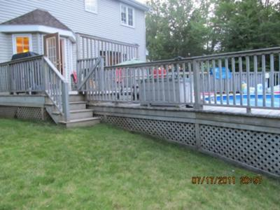 How to add a deck on to an existing above ground pool deck for Above ground pool decks attached to house