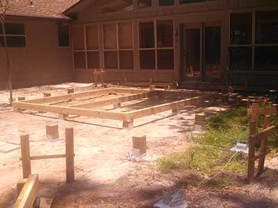 Batter boards and deck layout