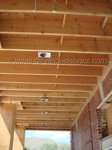 Build a balcony deck tile installing lighting boxes into framing aloadofball Choice Image