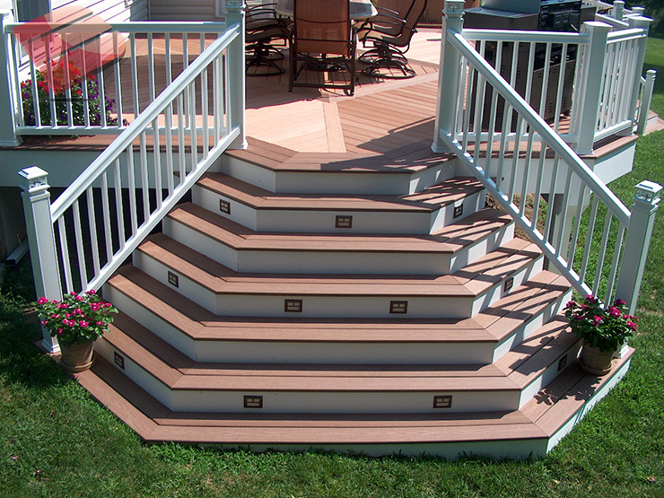 Looking for deck design inspiration. Look no further. This mid-level deck and cascading box steps will fulfill any deck builder's wildest dreams.