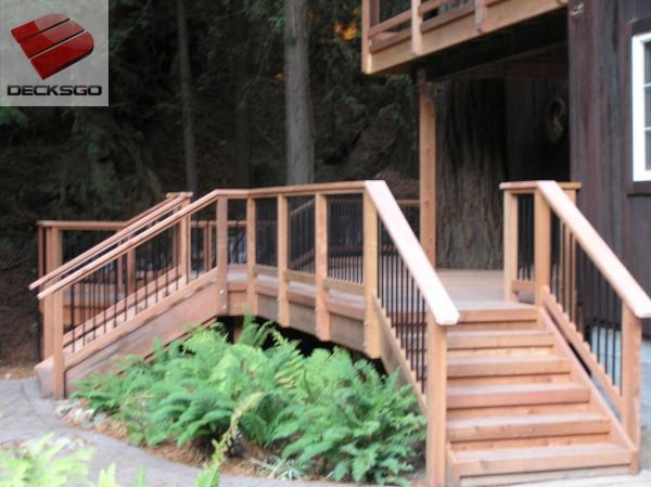 Cedar deck with black aluminum balusters.