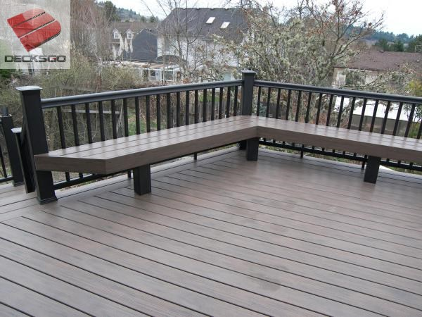 Composite deck and railing with benches.