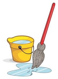 Wash deck with a mop and bucket