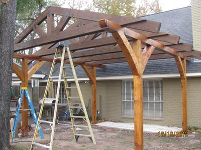Closer View of Trusses on Pergola