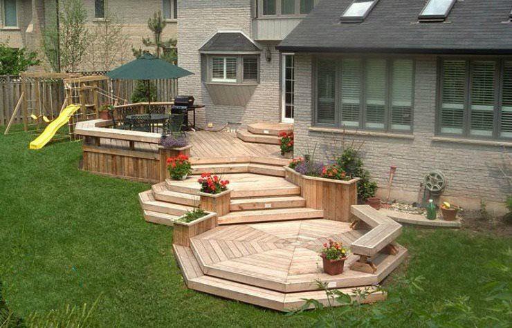 Multi level cedar deck an cascading stairs