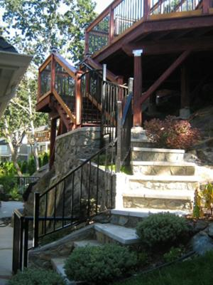 Rock stairs and custom railing