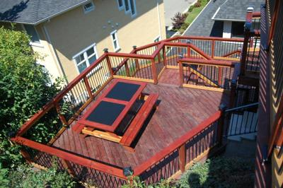Use of extra balusters in deck furnishings.