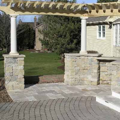 Finished stone deck stairs