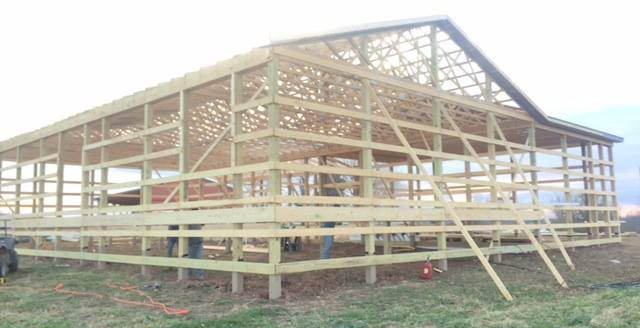 Pole barn framed and waiting for siding to be intalled
