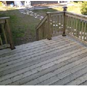 A typical pressure treated decking surface