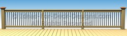 Intermitting large posts with continuous top rail