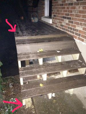 Rebuilding New Composite Deck Stairs And Extending The Concrete Slab Landing