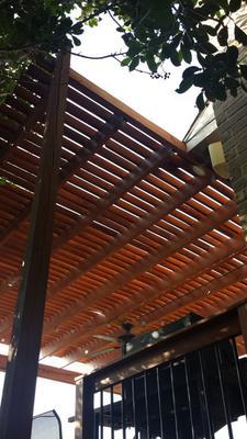 View of underside of pergola roof