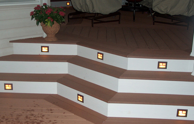 Stair riser lighting grates
