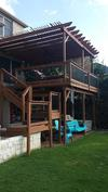 Full perspective view of deck with pergola roof