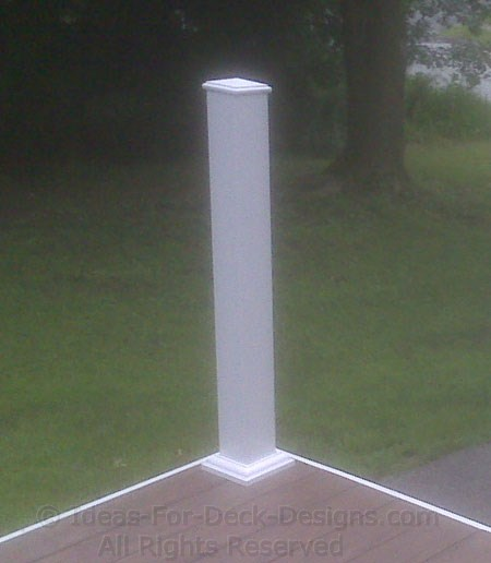 A wood post covered with the PVC shell