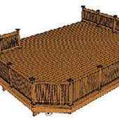 A wood deck with railing