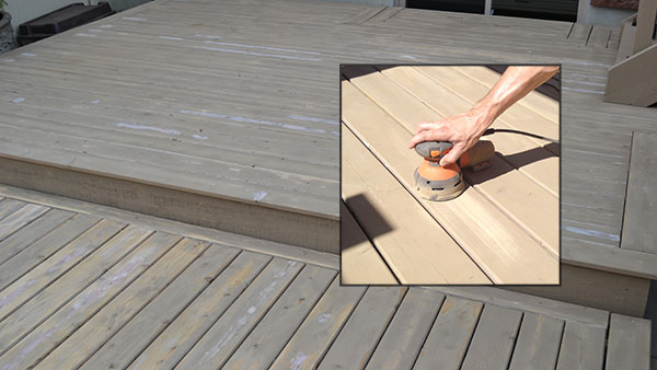 Sanding deck for stain