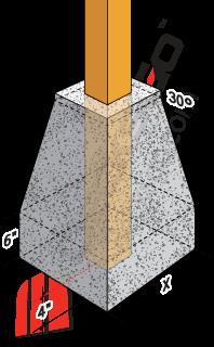 Pergola footing post in pyramid concrete